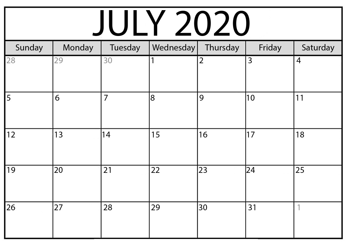Editable July 2020 Printable Calendar Word Pdf Excel