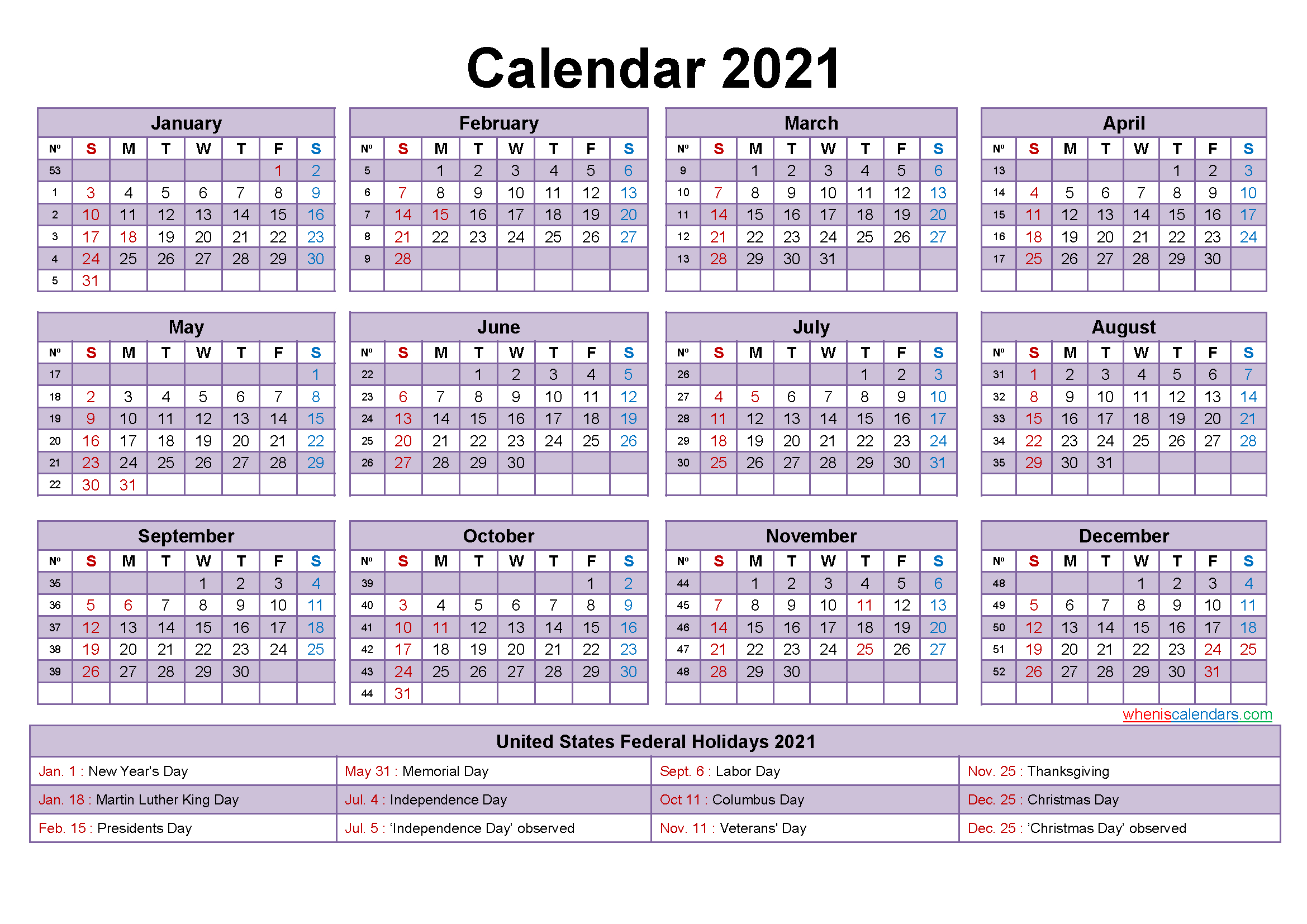 Editable Printable Calendar 2021 Word Template No Ep21y17