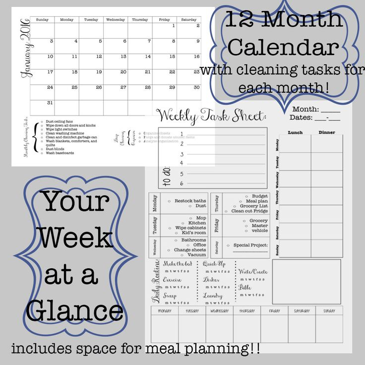 Editable Week At A Glance Printable Planner And Monthly