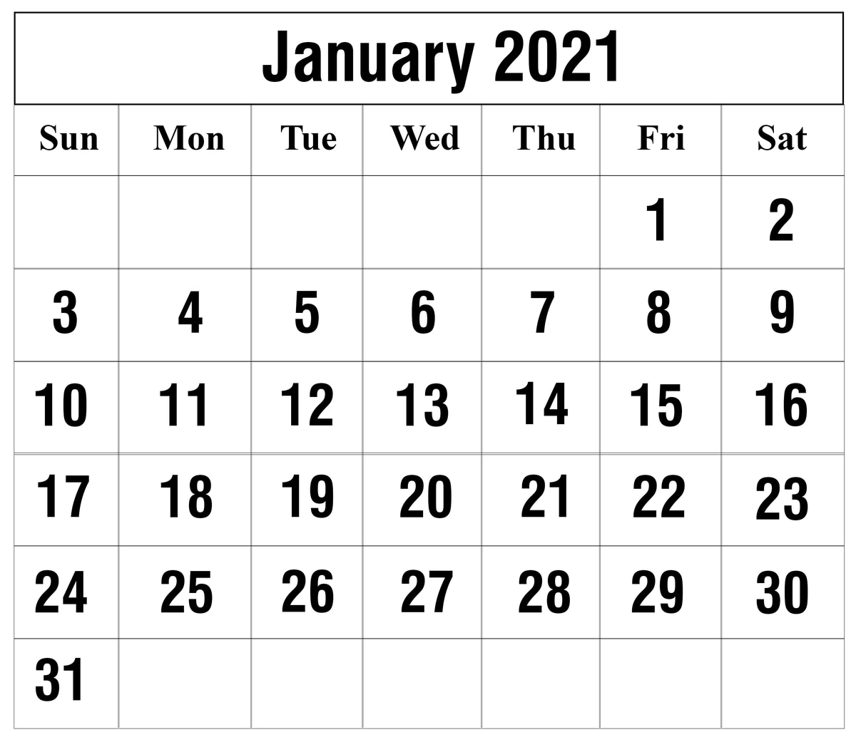 Excel Calendar January 2021 2021 Excel Calendar