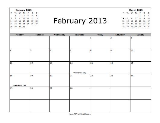 February 2013 Calendar Free Printable Allfreeprintable