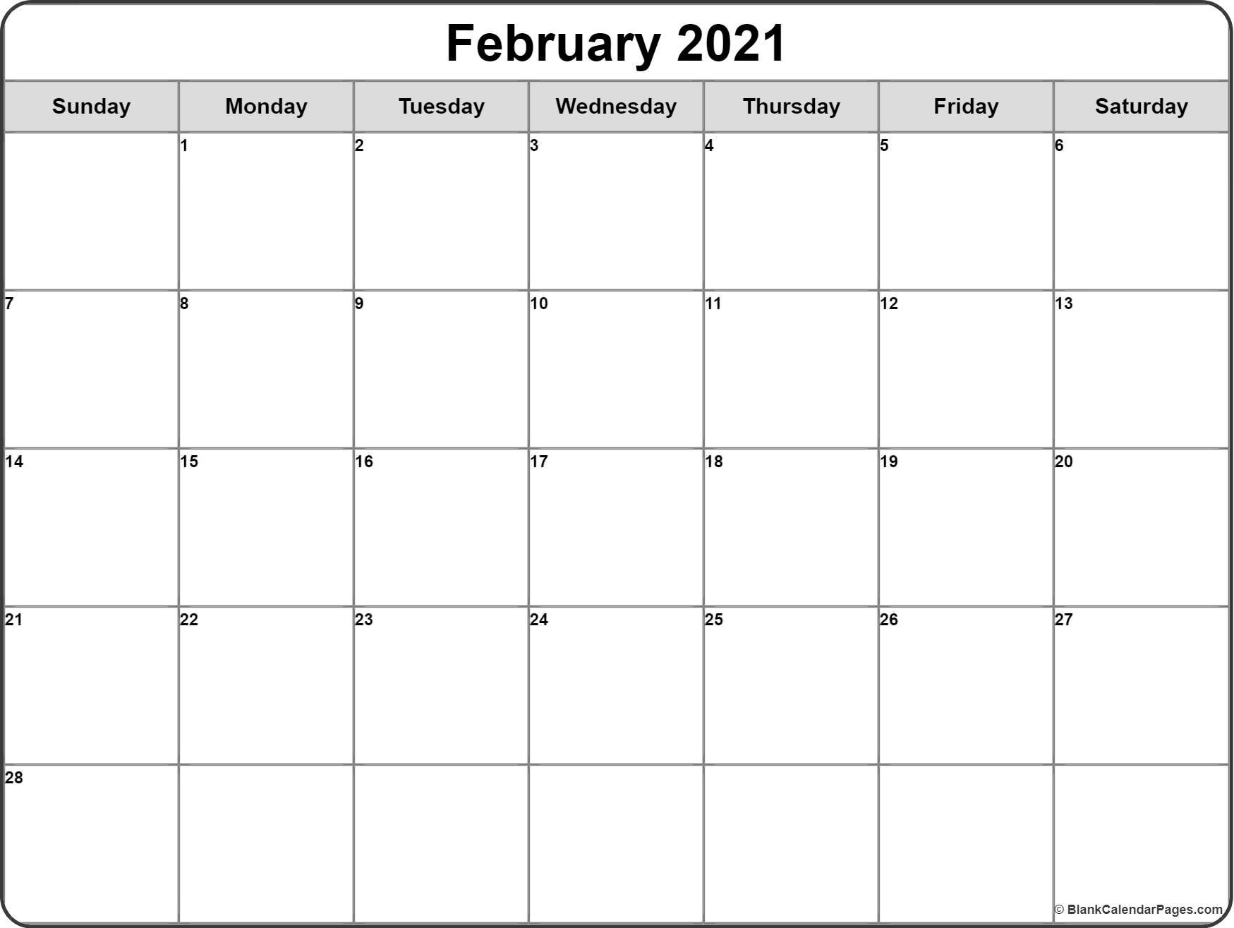 February 2021 Calendar Free Printable Calendar Templates