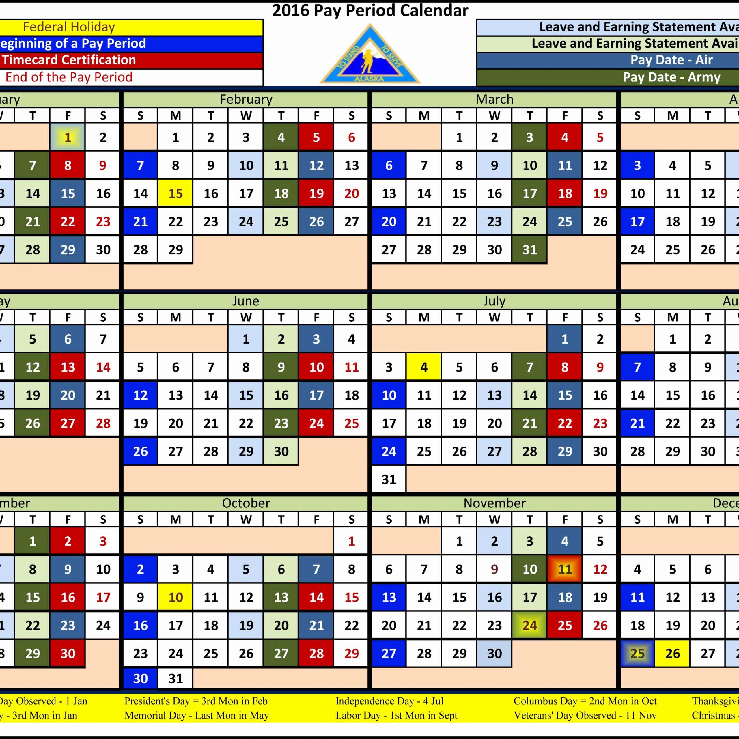 Federal Employee Pay Period Calendar 2020 Free Printable