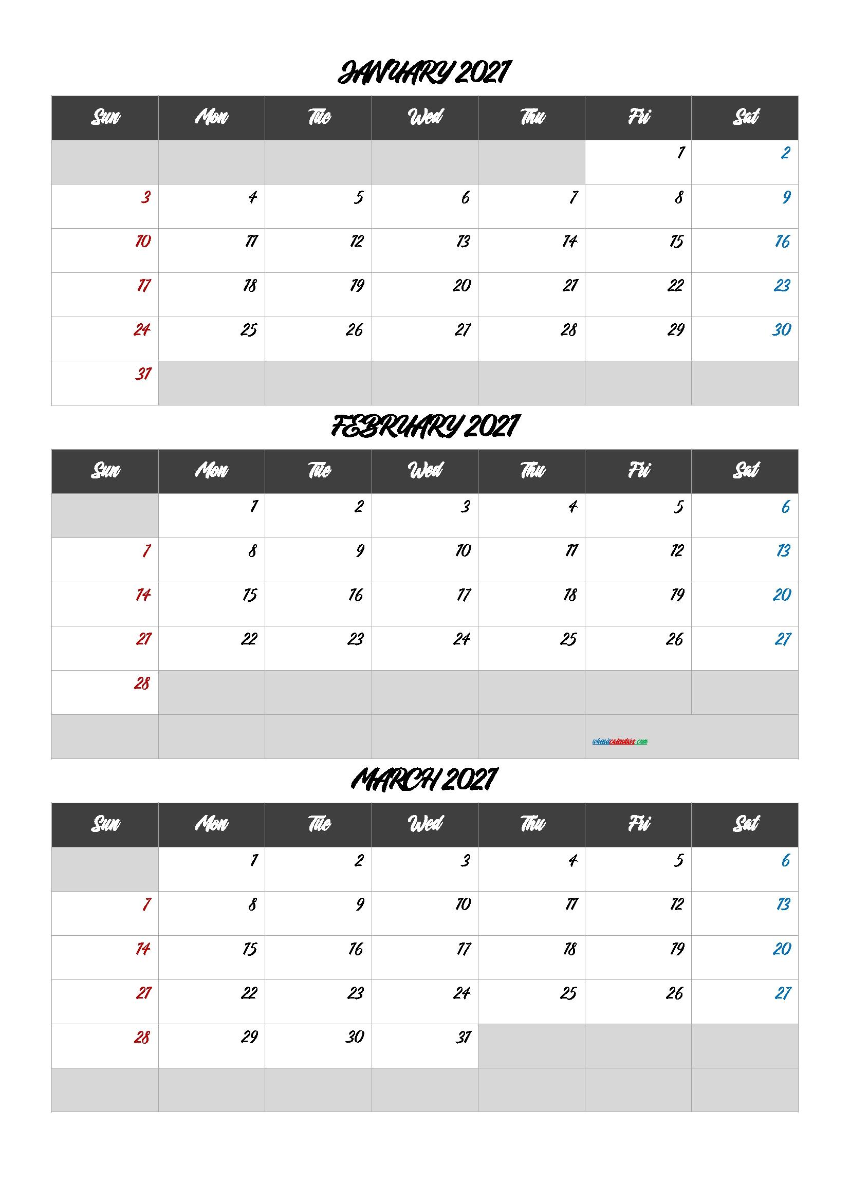 First Quarter Dates 2021 Month Calendar Printable
