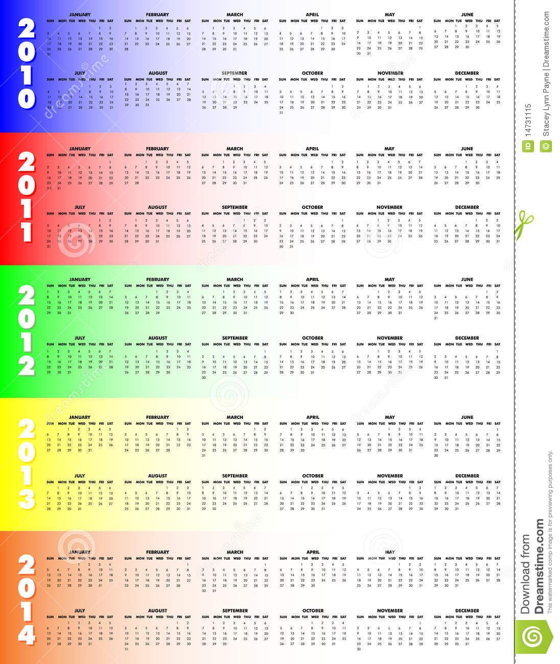 Five Year Calendar 2010 2014 Stock Vector Illustration