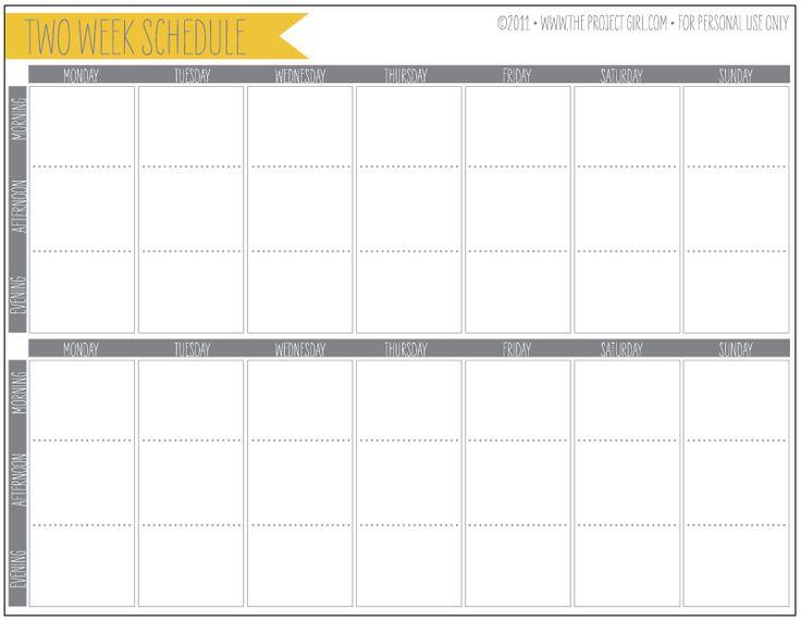 Free 2 Week Schedule Download Jenallyson The Project