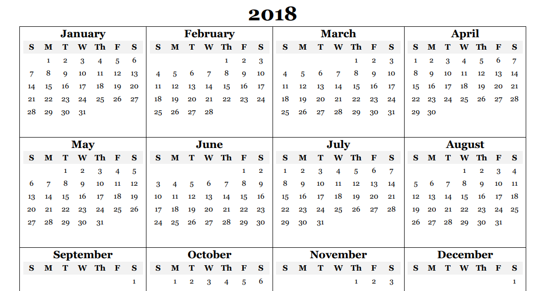 Free 2018 Yearly Calendar Pdf Word Excel Templates 1