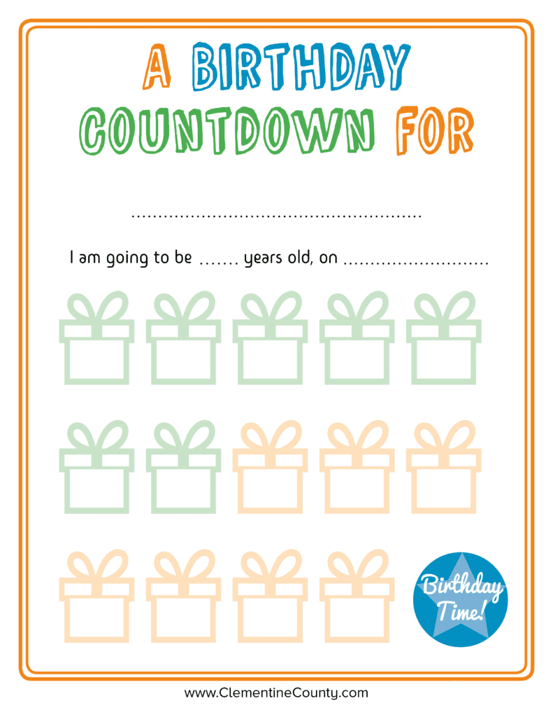 Free Birthday Countdown Printable Clementine County 1
