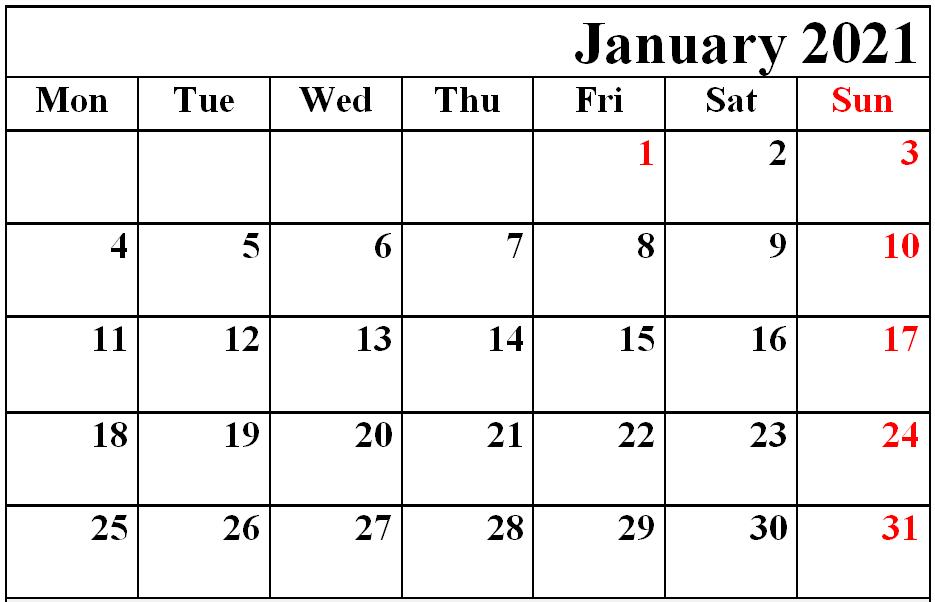 Free Editable January 2021 Calendar Word Excel Template