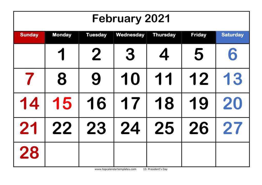 Free February 2021 Calendar Printable Pdf Word
