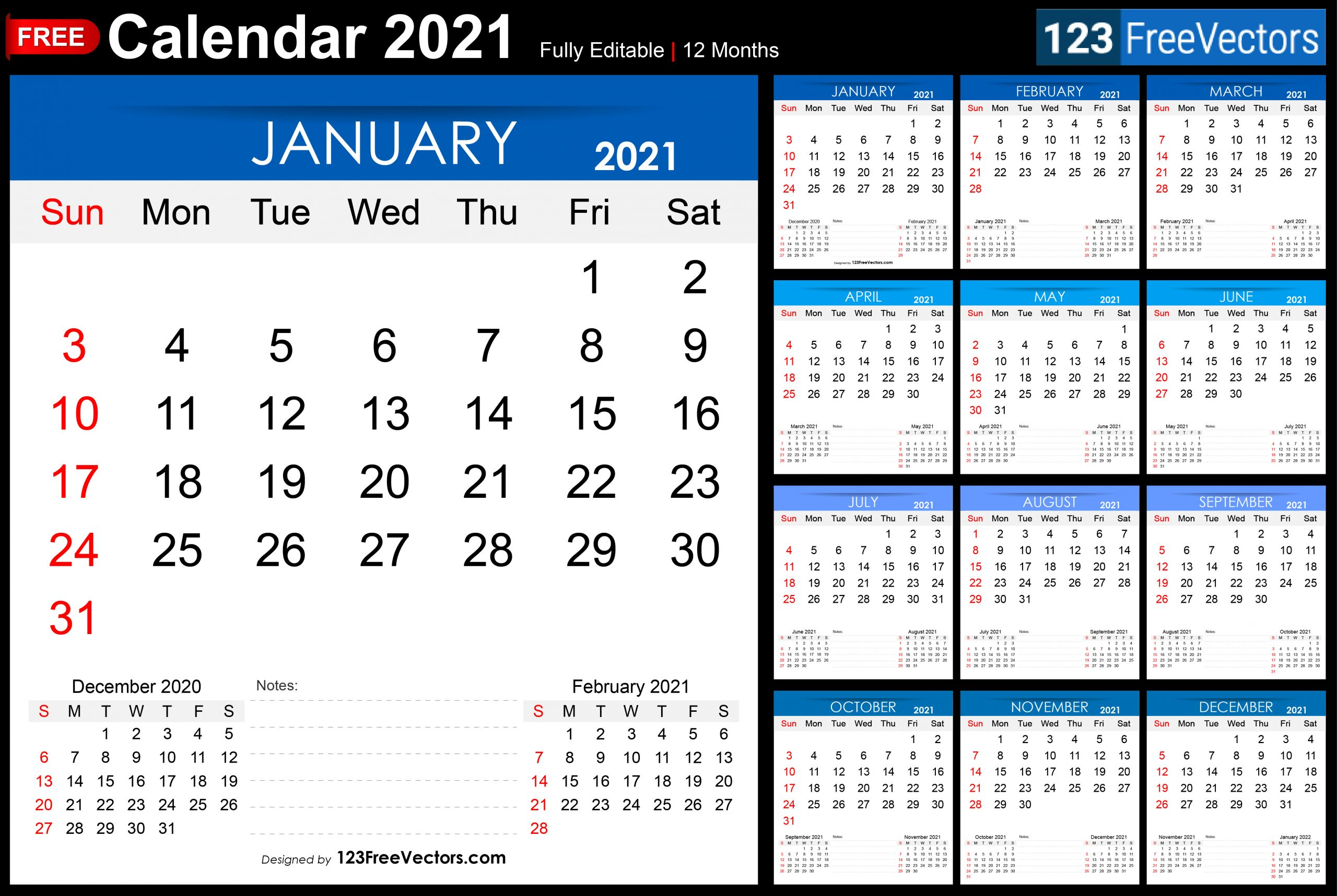 Free Free Printable 2021 Monthly Calendar