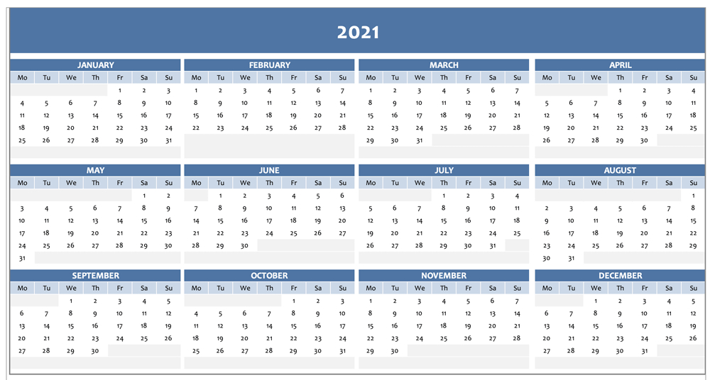 Free Full Year Calendar For 2021 Excel Template