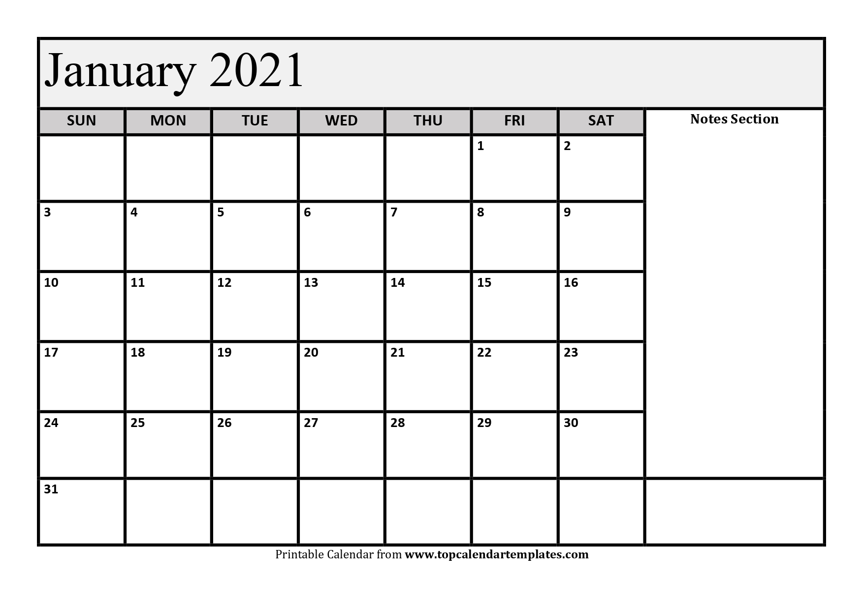 Free January 2021 Calendar Printable Monthly Template