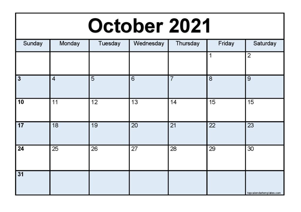 Free October 2021 Printable Calendar Monthly Templates