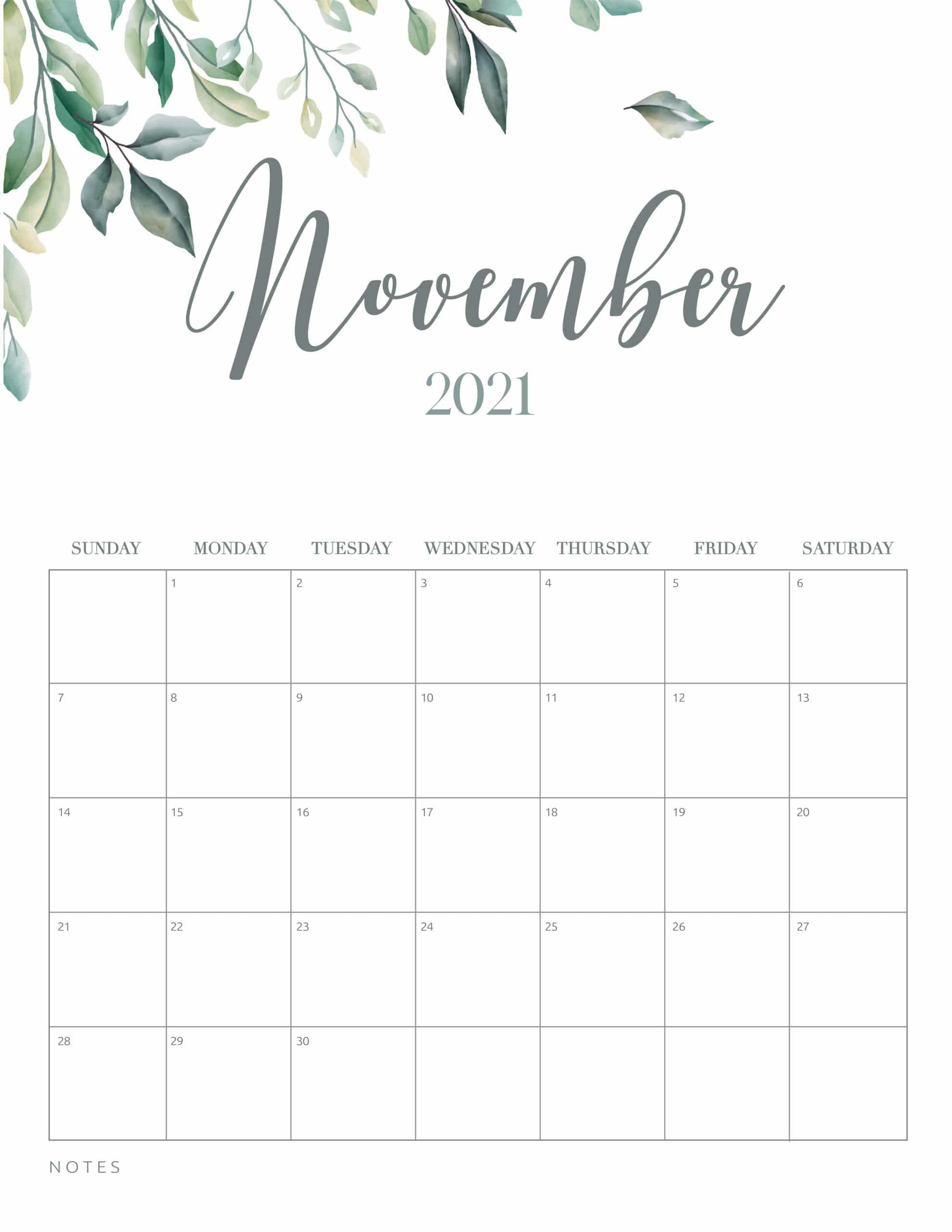 Free Printable 2021 Calendar Botanical Style World Of
