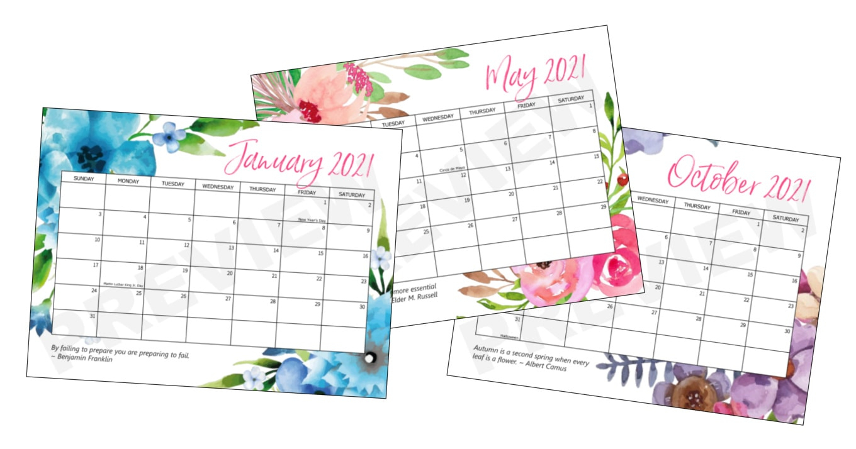 Free Printable 2021 Calendar Craftsamanda Free
