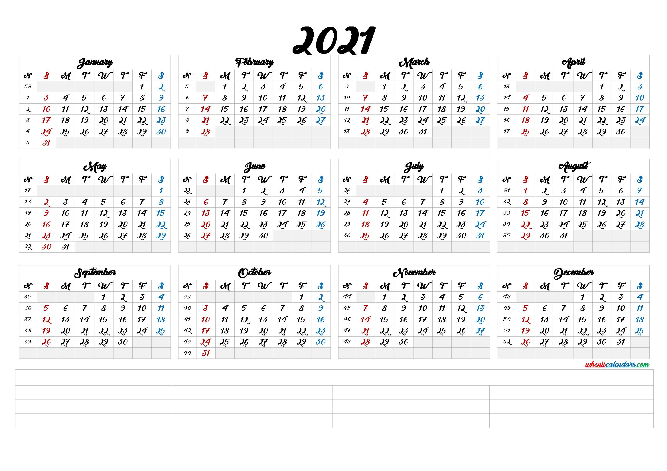 Free Printable 2021 Calendarmonth 6 Templates