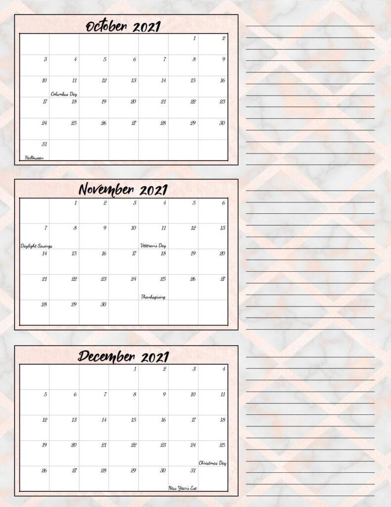 Free Printable 2021 Quarterly Calendars With Holidays 3 1