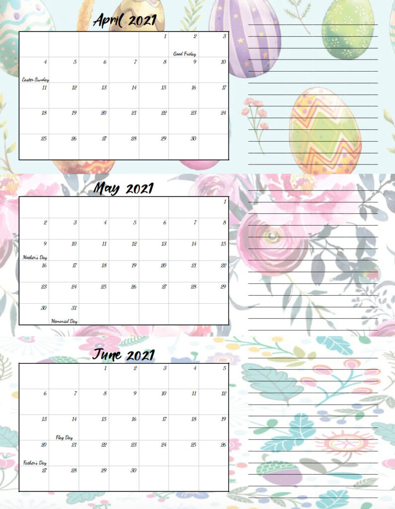 Free Printable 2021 Quarterly Calendars With Holidays 3