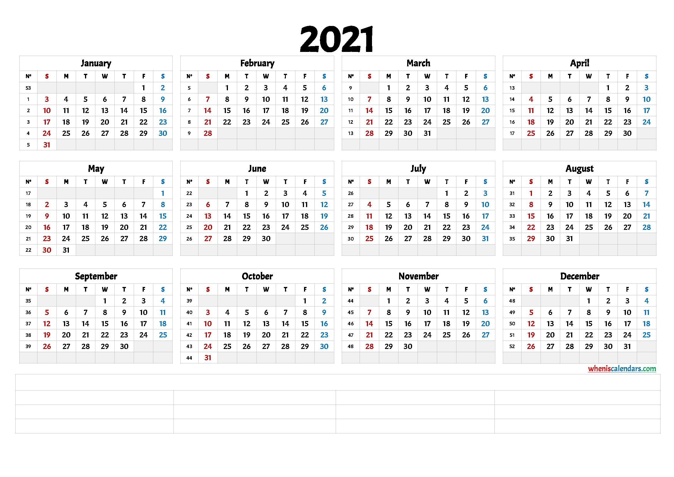 Free Printable 2021 Yearly Calendar 6 Templates