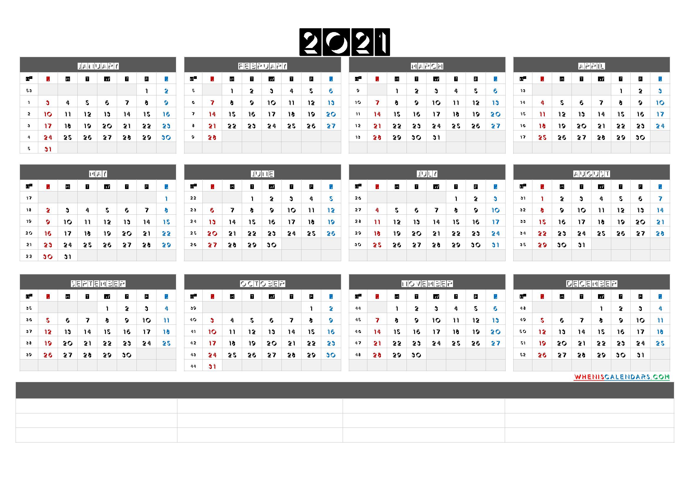 Free Printable 2021 Yearly Calendar With Week Numbers 6