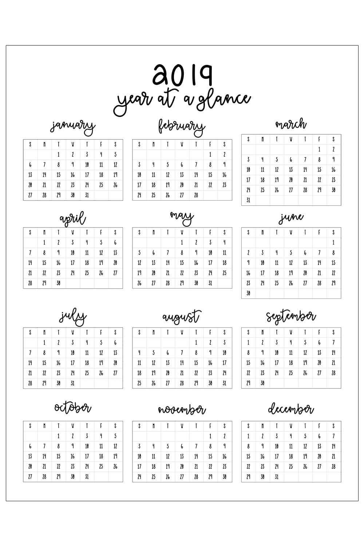 Free Printable Calendar Year At A Glance Calendar