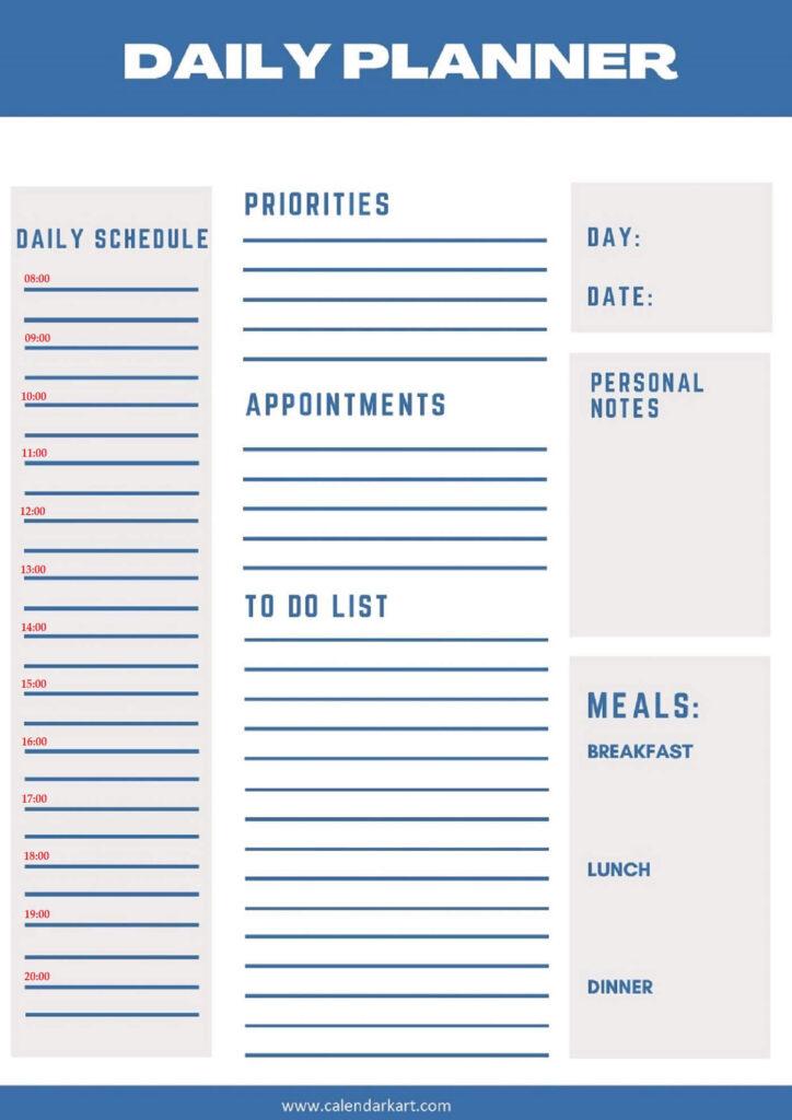 Free Printable Daily Planner 2021 Templates Calendarkart 1