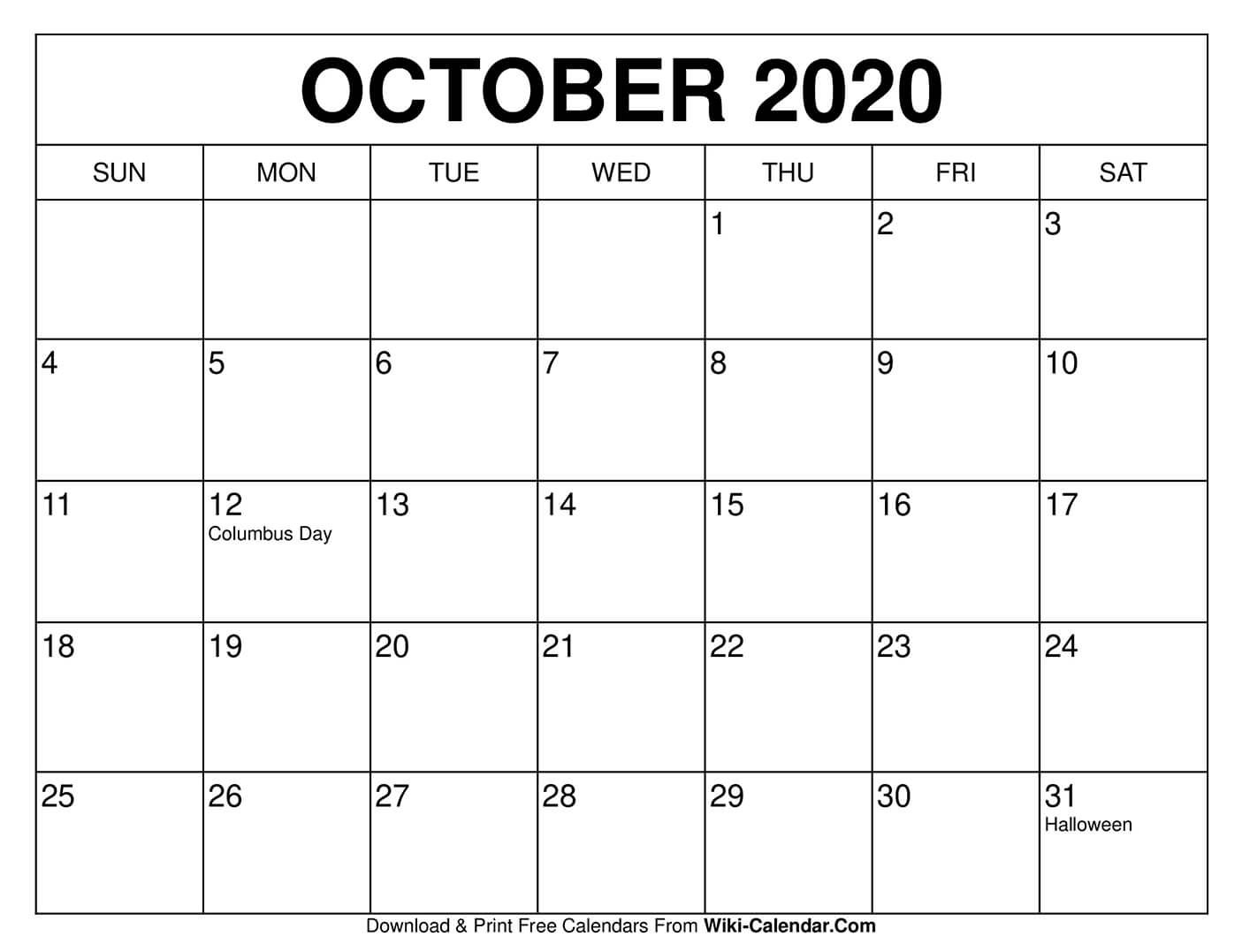 Free Printable October 2020 Calendar Templates These Free