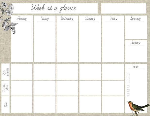 Free Printable Week At A Glance Planner Weekly Planner