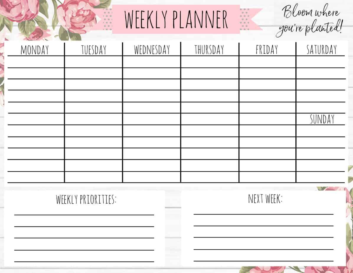 Free Printable Weekly Calendar Shiplap Floral A