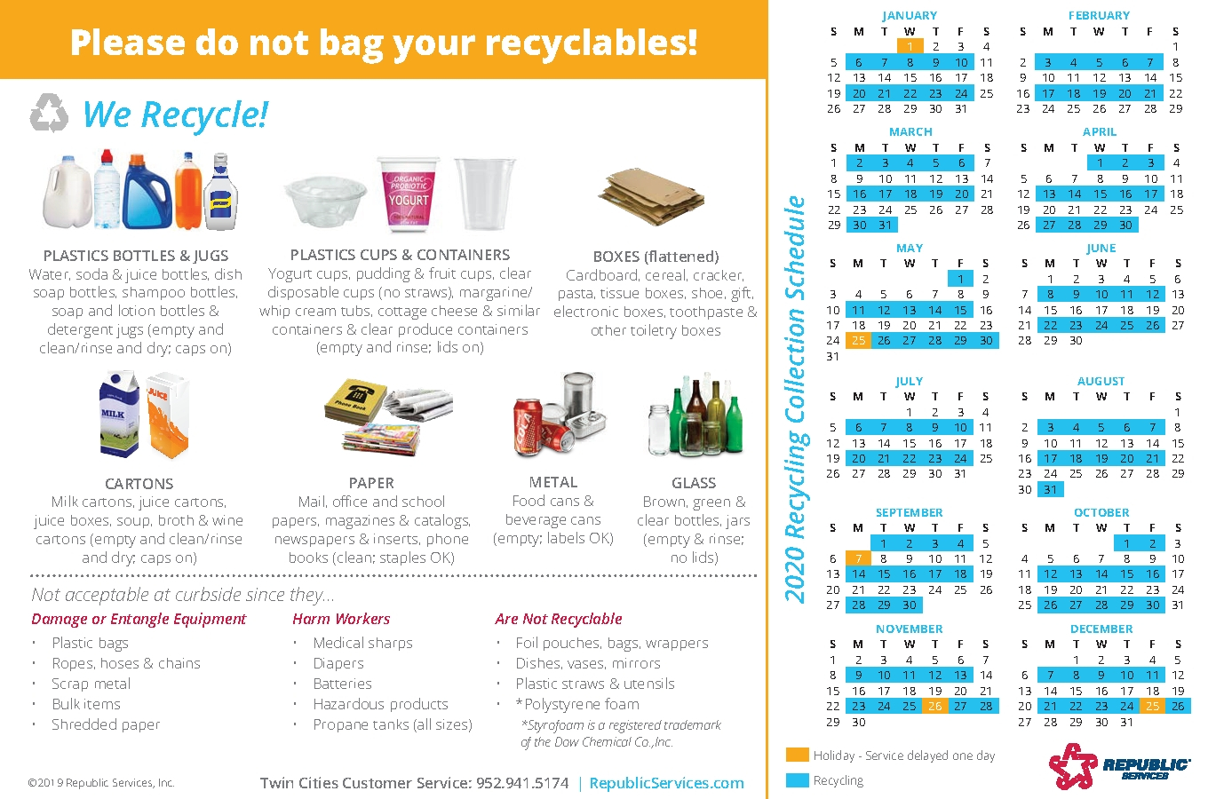 Free Republic Services Recycle Schedule For 2021 Get