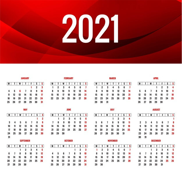 Free Vector Elegant 2021 Calendar Layout With Wave