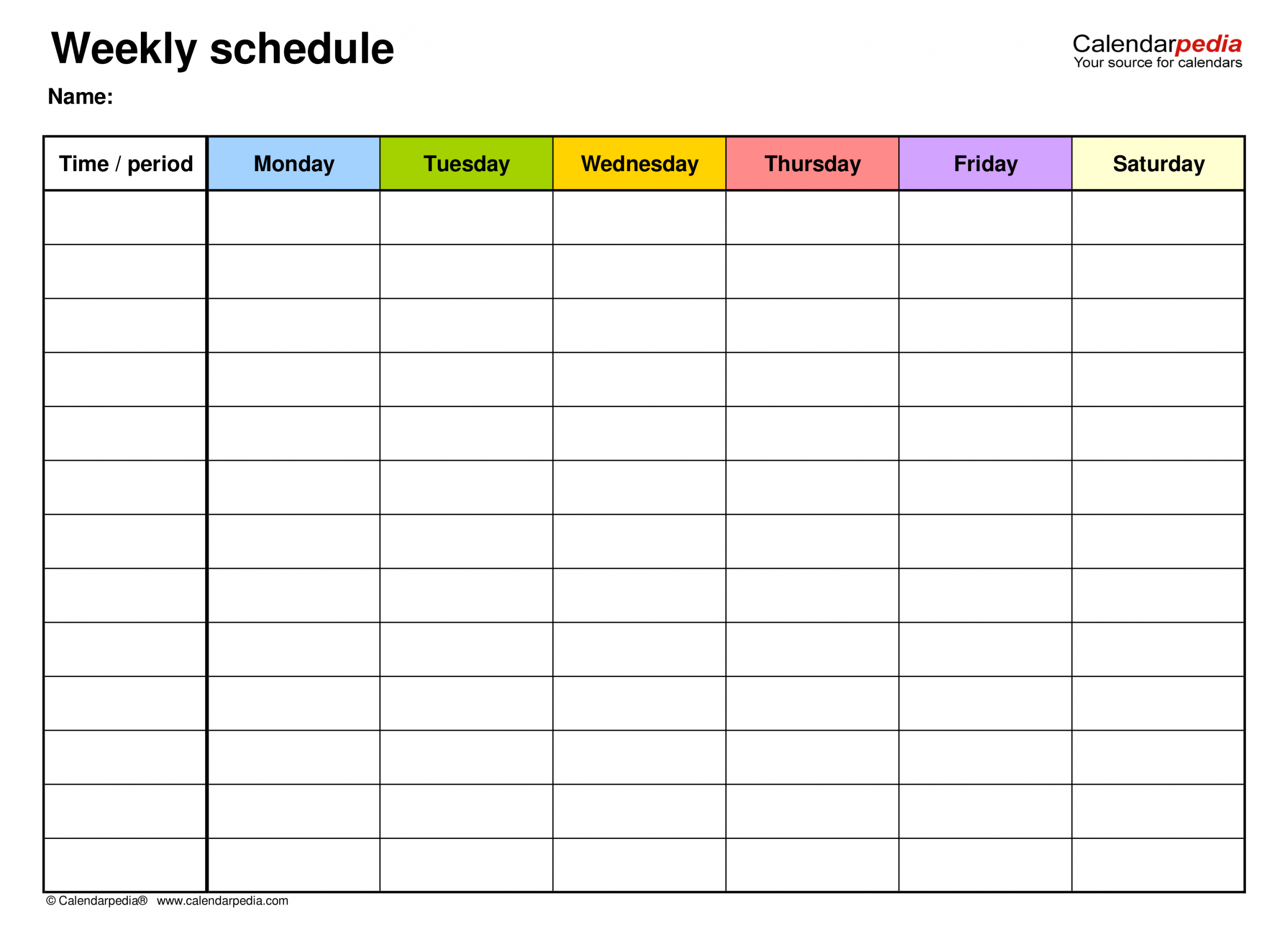 Free Weekly Schedules For Pdf 18 Templates
