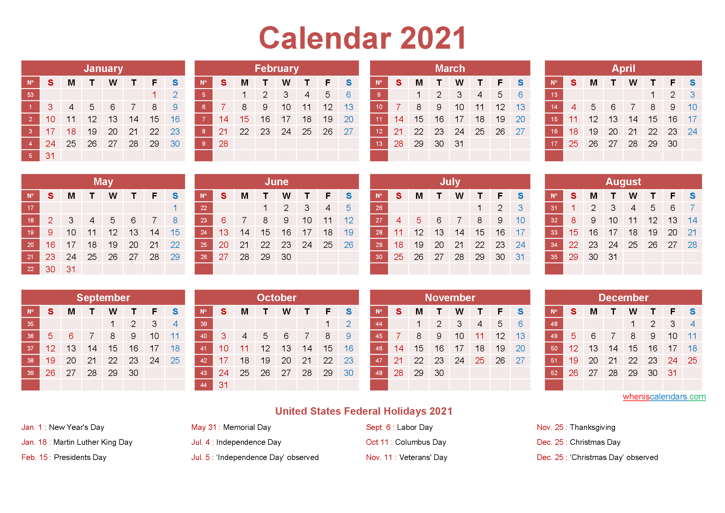 Free Yearly 2021 Calendar With Holidays Word Pdf Free 1