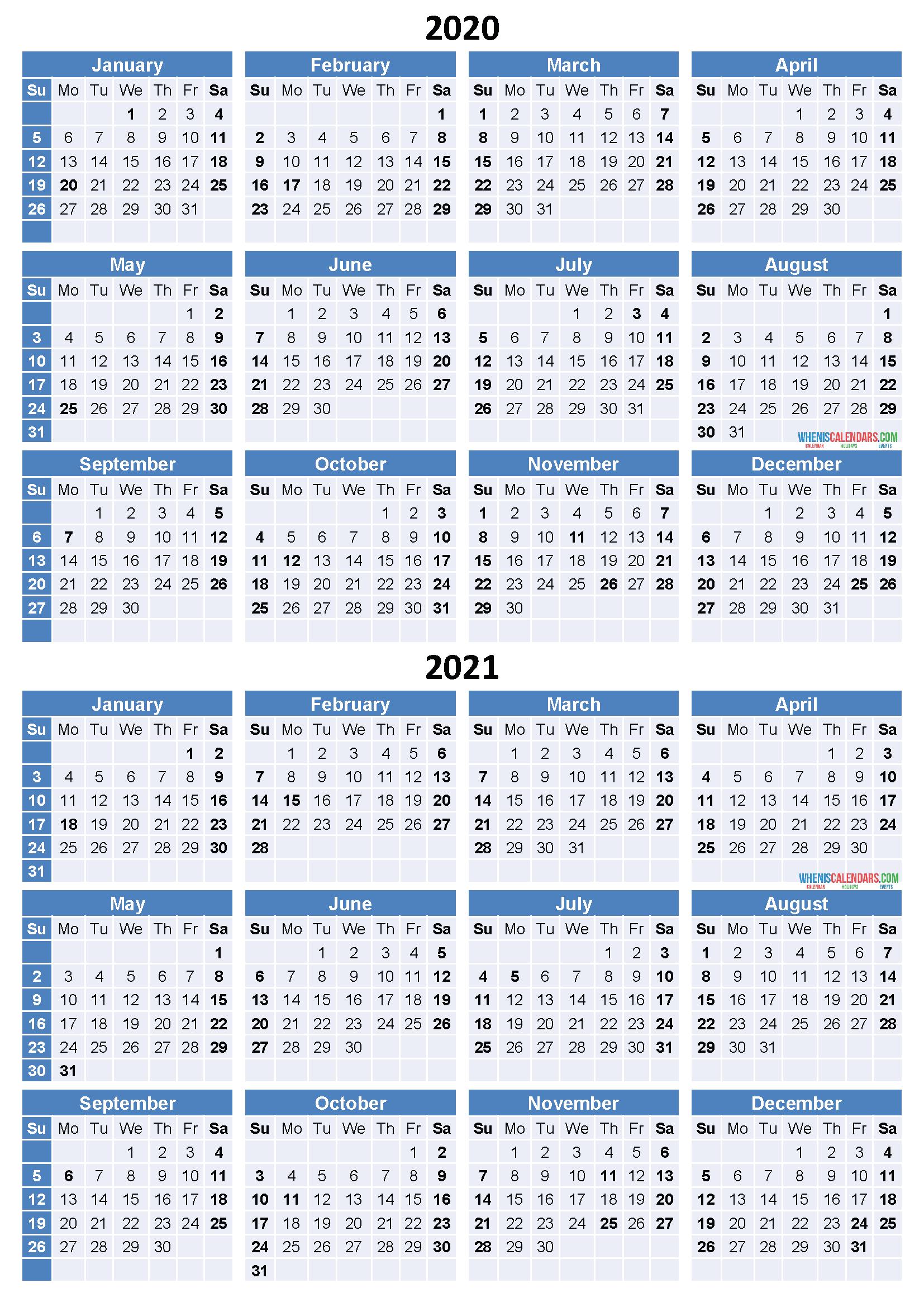Get Free 2 Year Calendar 2020 2021 Calendar Printables