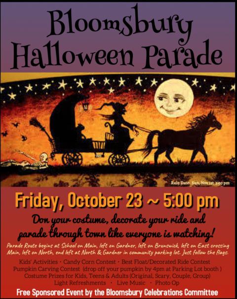 Halloween Parade October 23 5pm Bloomsbury New Jersey