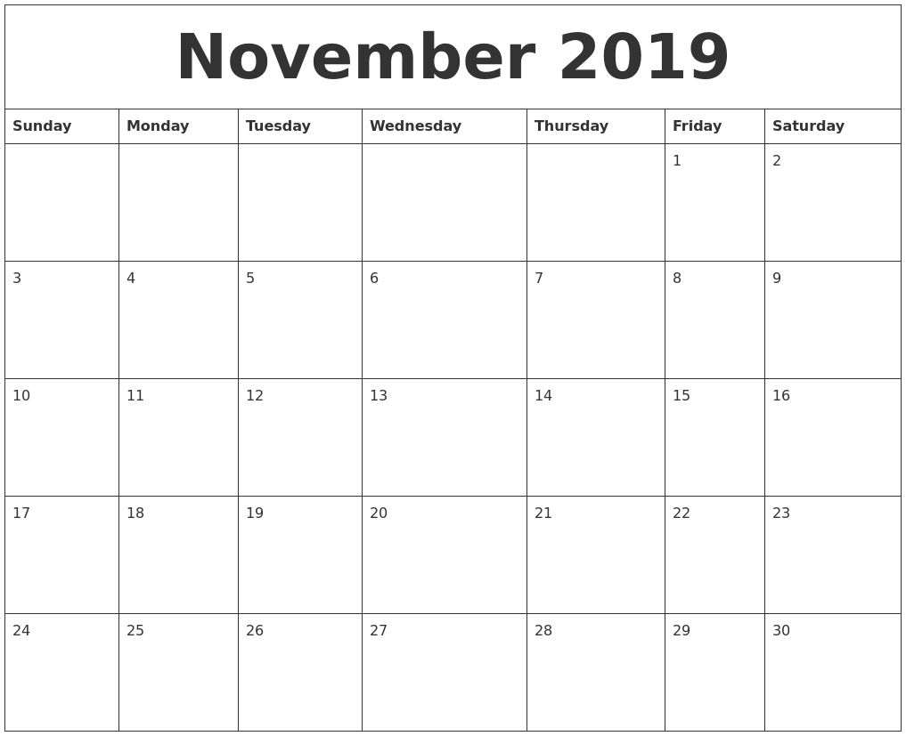 Impressive Blank Month Calendar 30 Days Calendar