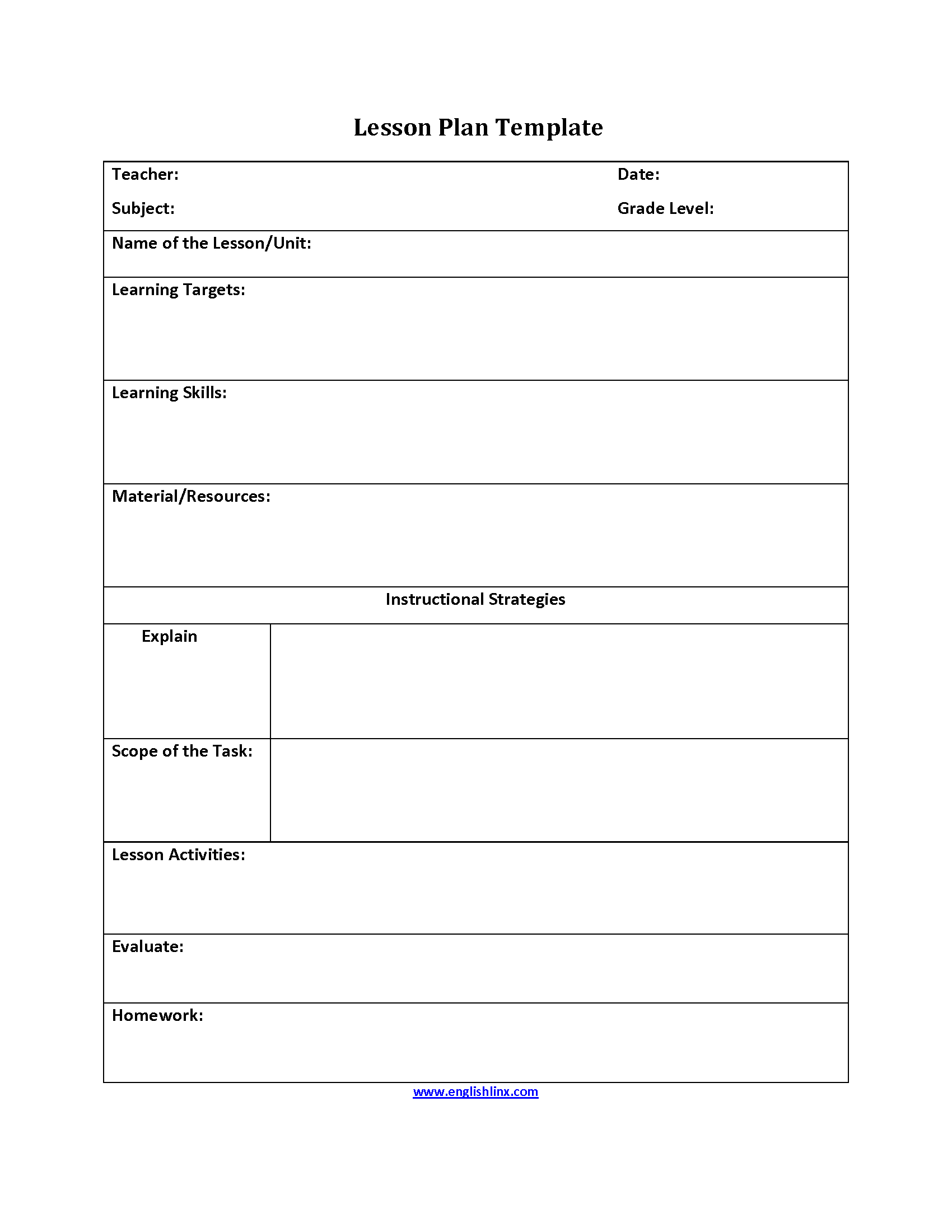 Instructional Strategies Lesson Plan Template Lesson