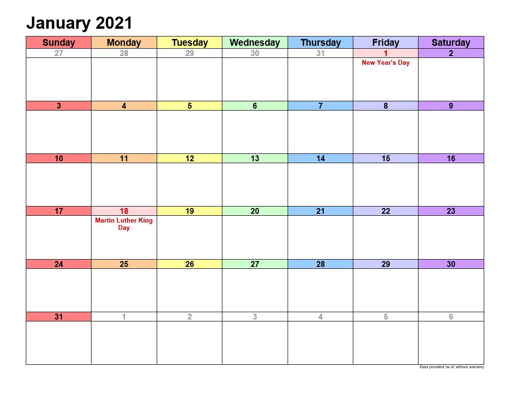 January 2021 Calendar In Landscape Allcalendar