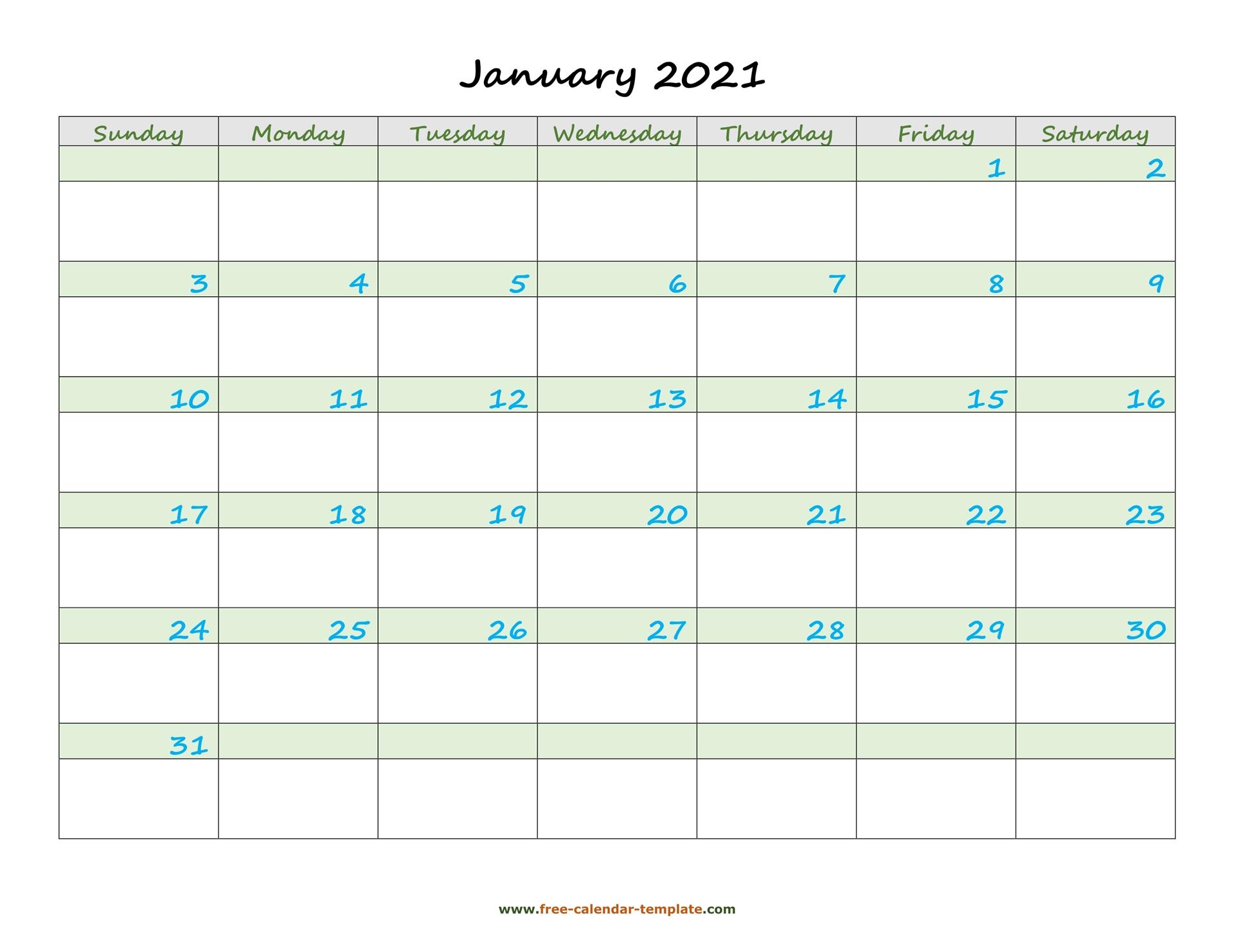January 2021 Free Calendar Tempplate Free Calendar 1