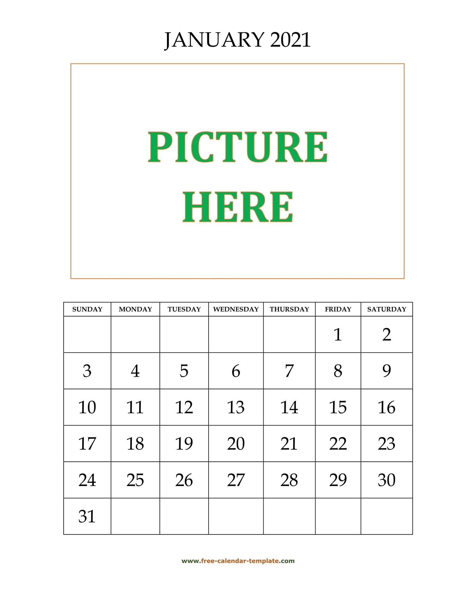 January 2021 Free Calendar Tempplate Free Calendar