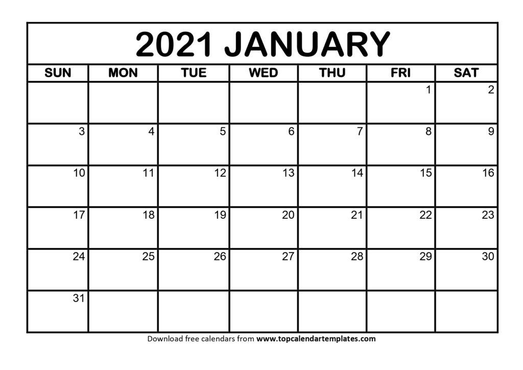 January 2021 Printable Calendar Template Pdf Word Excel