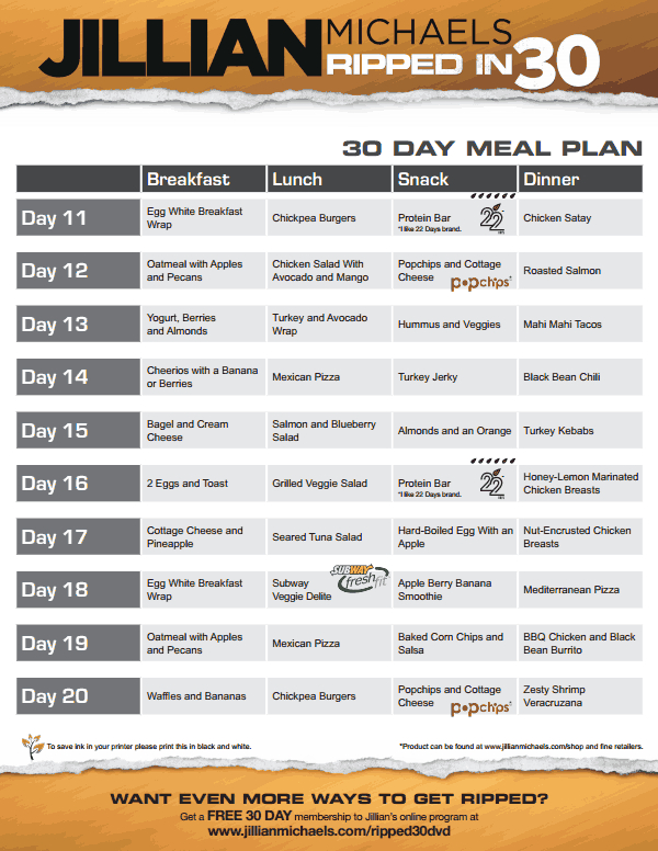 Jillian Michaels Ripped In 30 Meal Plan V Pdf Shred Diet