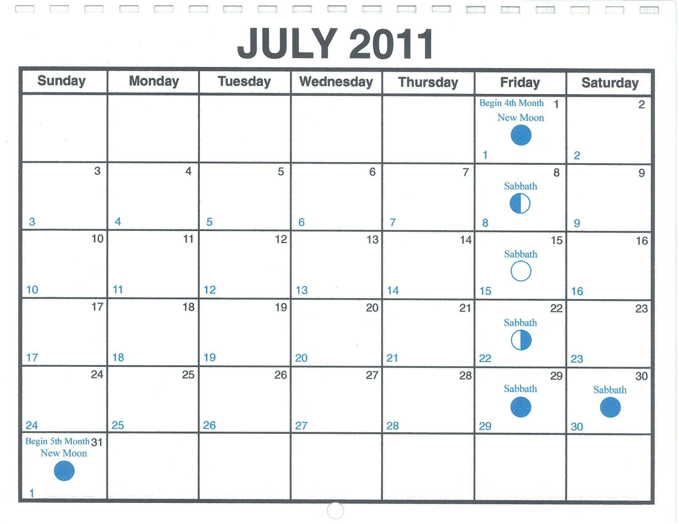 July 2011 Lunar Calendar One Yahweh