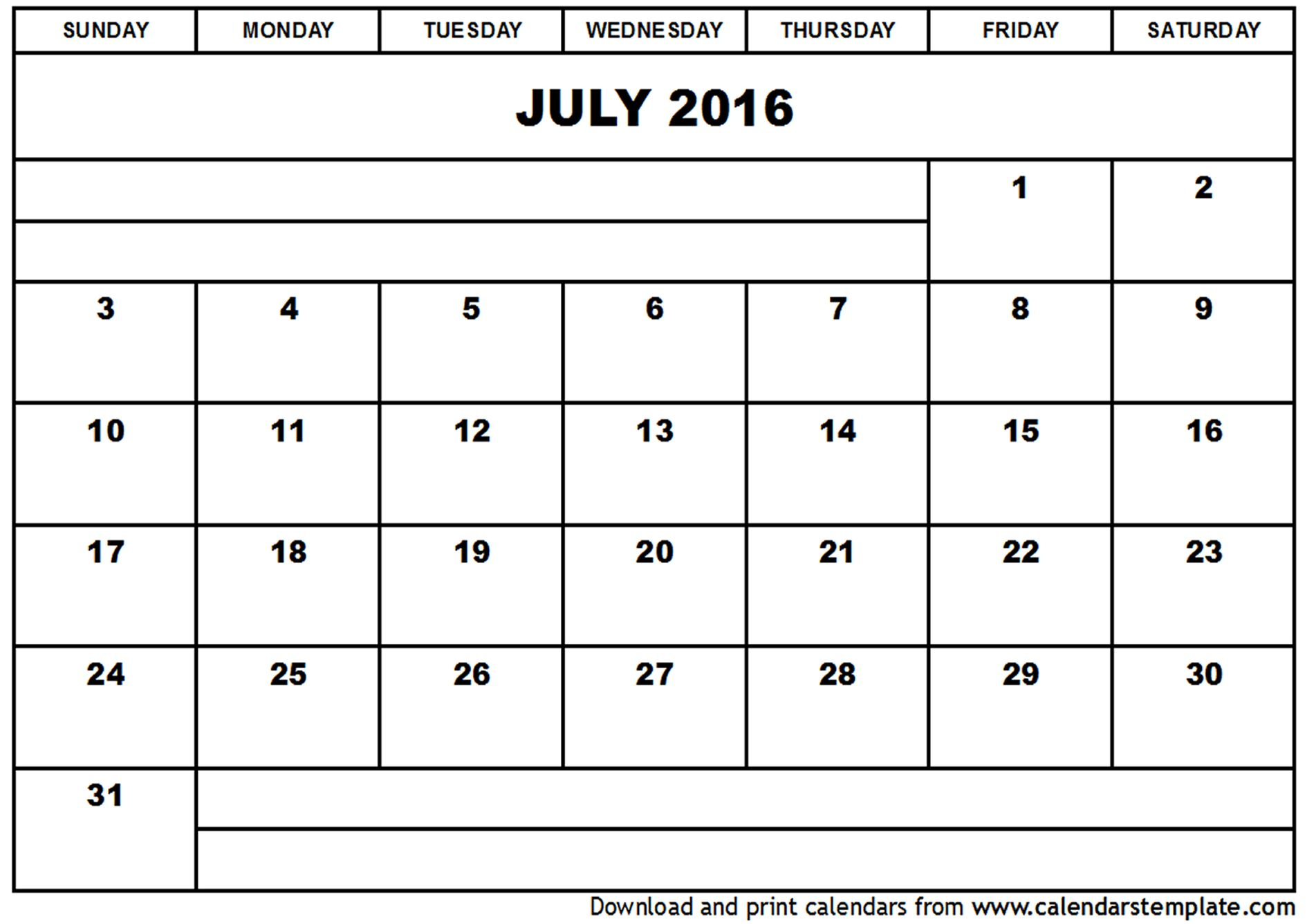 July 2016 Calendar Full Page With Images Print