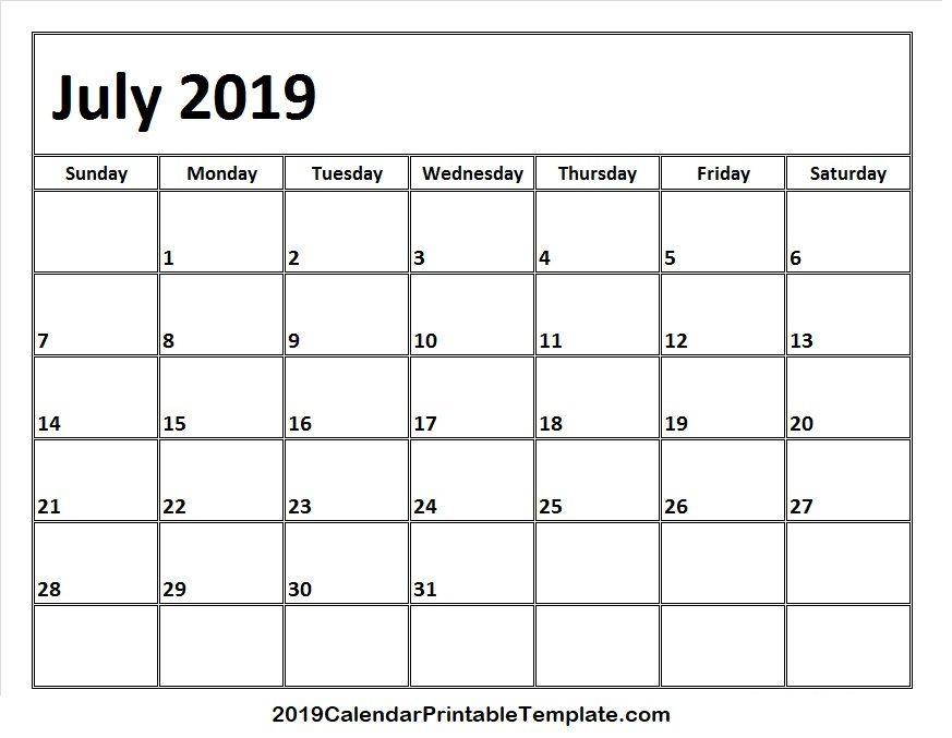 July 2019 Printable Calendar Https Www