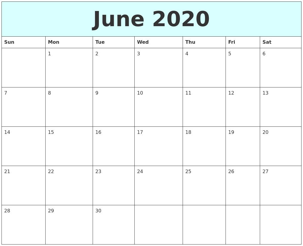 July 2020 Printable Monthly Calendar