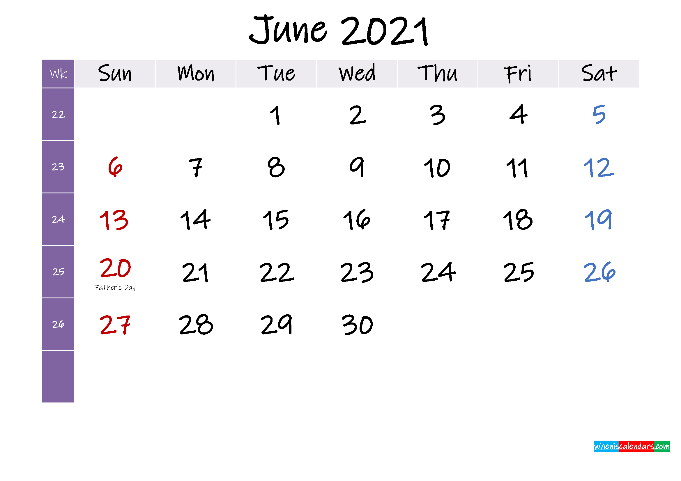 June 2021 Free Printable Calendar With Holidays Template