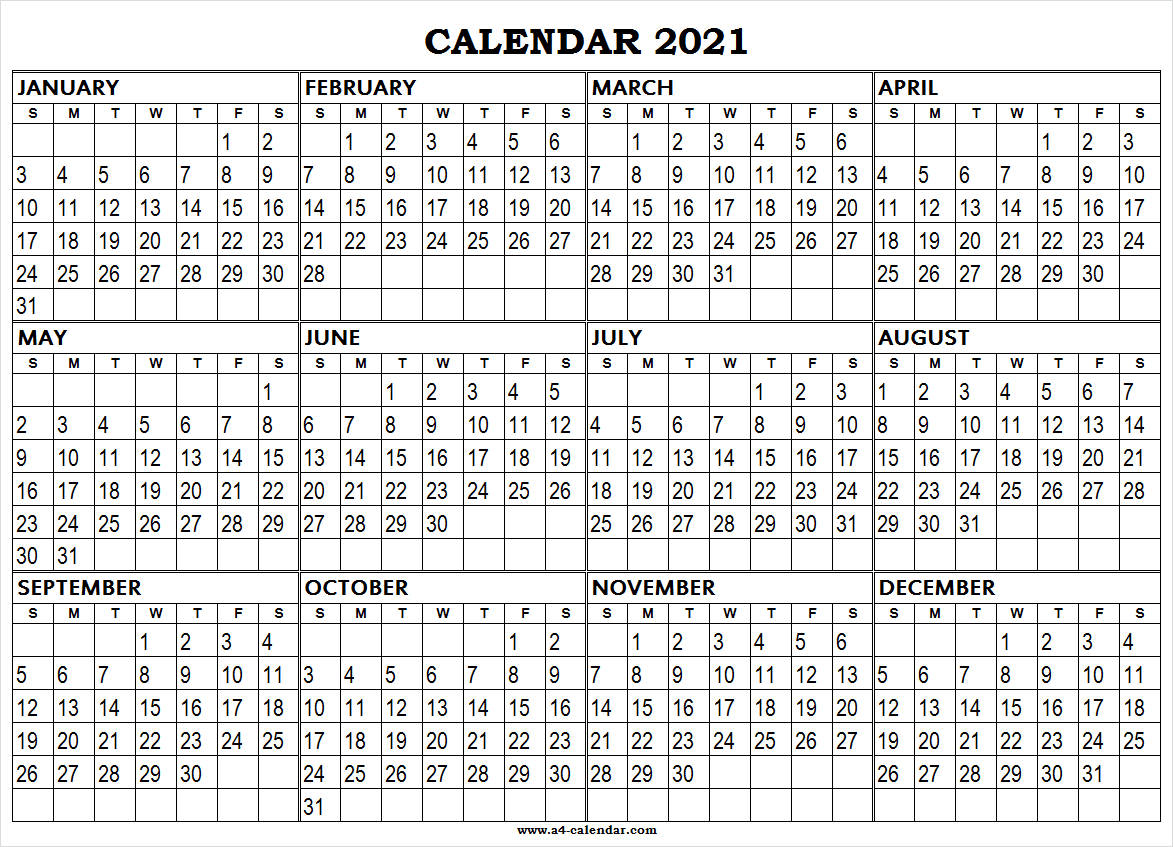 Large Printable 2021 Calendar A4 Calendar