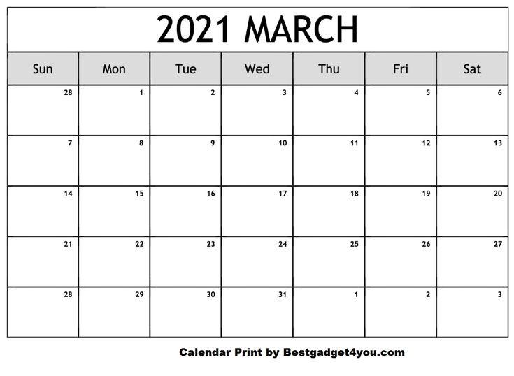 March 2021 In 2020 Calendar Printables Editable